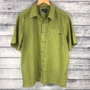 Marmot Green Short Sleeve Button Down Shirt XL